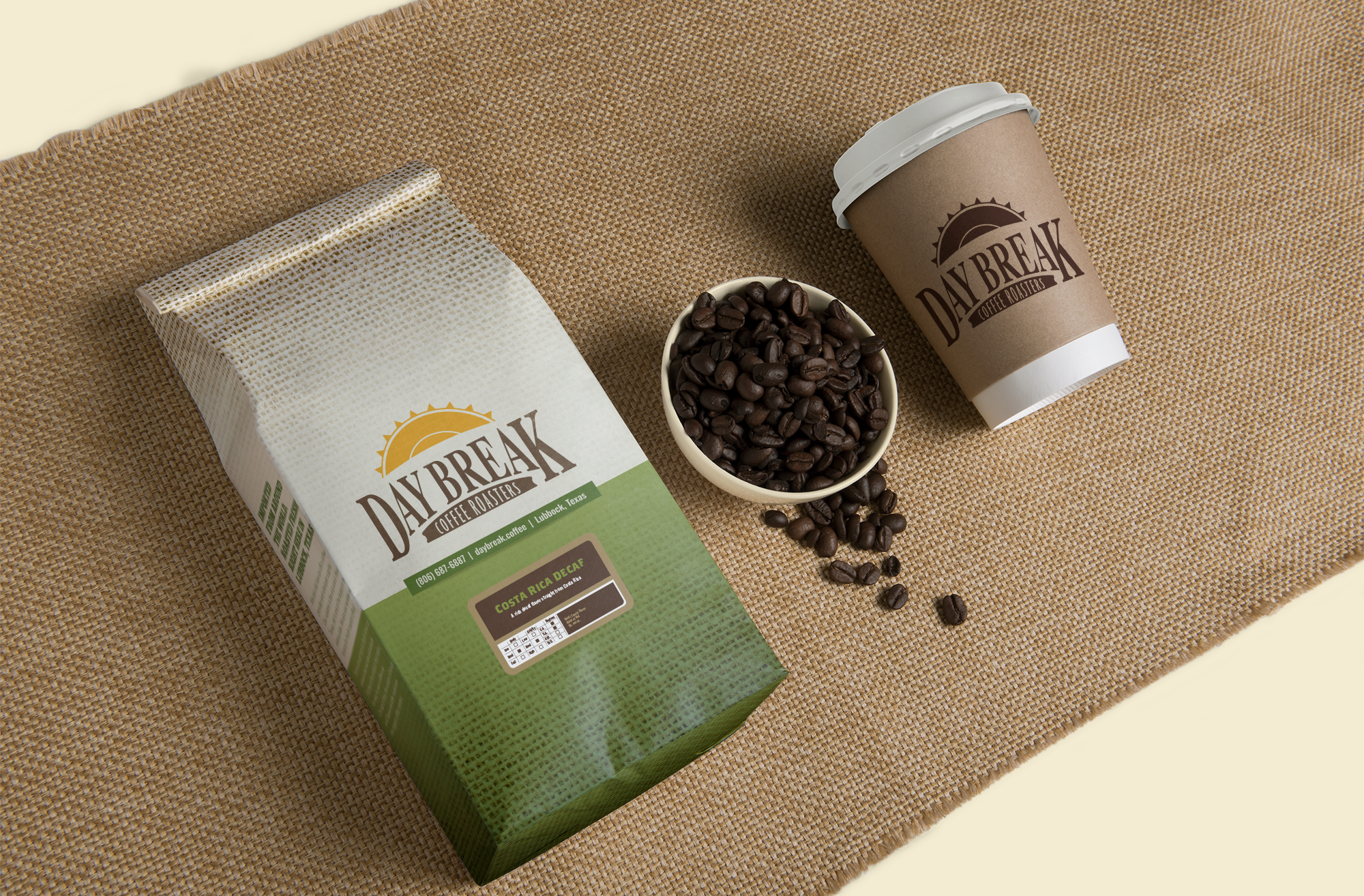 Costa Rica Decaf coffee bag, beans, and coffee cup