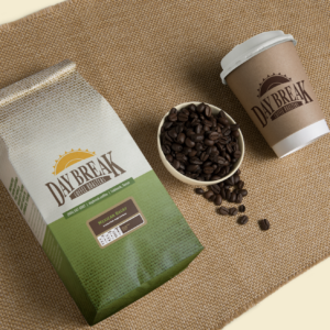Mexican Decaf coffee beans bag and cup